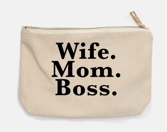 Wife Mom Boss Canvas Cosmetic Bag