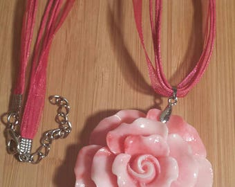 Pink Carved Flower Cinnabar Pendant Necklace