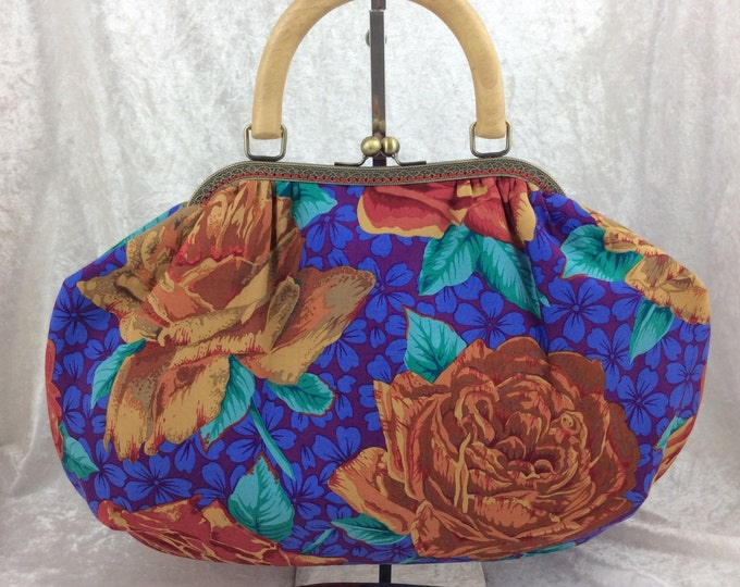 The Betty Roses frame bag. Philip Jacobs  Kaffe Fassett Collective Rose Bloom design fabric handbag purse handmade in England