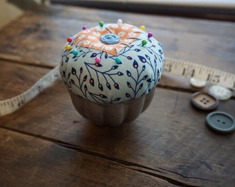 Blue and Orange Pincushion with heart in Vintage Jellow Mold Tin and Vintage Button Trim, Sewing Gift, Seamstress Gift