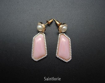 Drop Earrings With Corals, Pearls & Diamonds