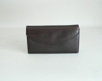Womens Brown Leather Checkbook Tri-Fold Wallet