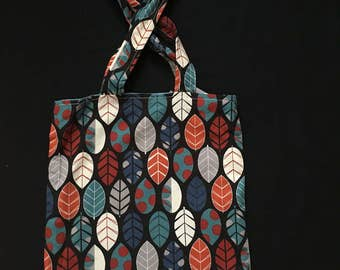 Blue leaves reversible tote