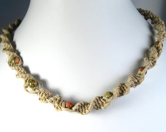 Hemp Twist Necklace with Unakite Stone Beads