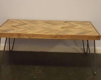 Reclaimed Oak Herringbone Coffee Table with Hairpin Legs