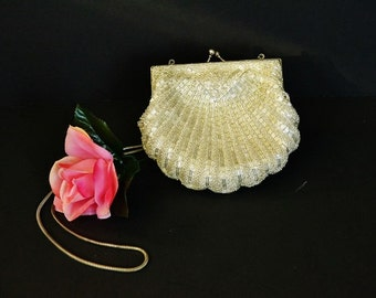 Vintage Beaded Clam Shell Purse - Evening Bag