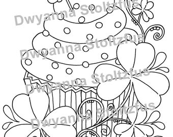 St. Patrick's Day Cupcake Coloring Page JPG