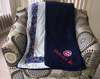 Chicago Cubs Baseball Themed Inspired Panel Fleece Blanket