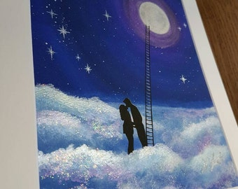I Love you to the moon and back art print painting, valentines gift, UK Seller.