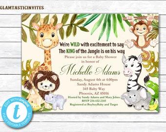 Jungle Baby Shower Invitation, Baby Shower Invitation, Baby Shower Invitation, Giraffe, Elephant, Monkey, Zebra, Safari, Jungle, Wilderness