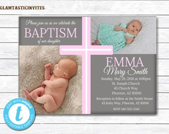 Baptism Invitaiton Girl, Christening Invitation, Girl Communion Invitation, Cross Invite, Baby Dedication, Religious Invite, Printable Card