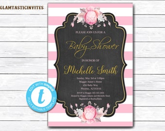 Pink Black And White Baby Shower Invitation, Floral Baby Shower, Baby Shower Template, INSTANT DOWNLOAD, Floral Baby Shower Invitation