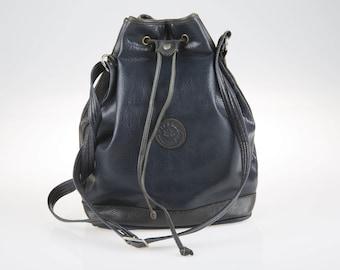 Vintage Blue Firenze Bags Leather Bag, Tote Bag, Shoulder Bag, Hand Bag, Festival Bag, Women's Bag, Hippie Bag