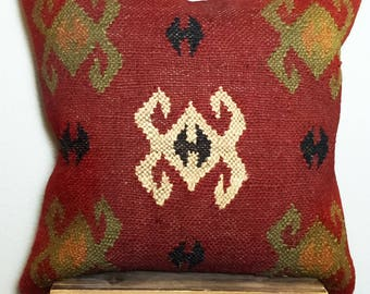 Handmade Vintage Boho Kilim Pillow by Tribes in India