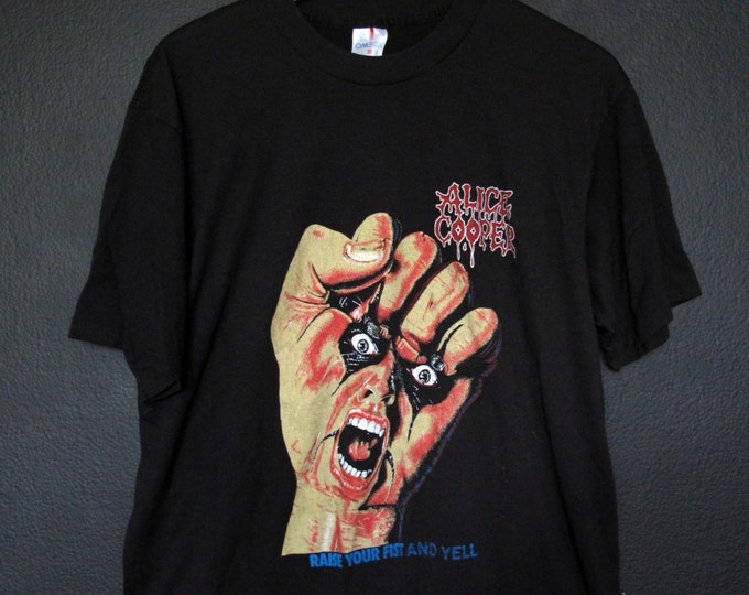Alice Cooper Raise Your Fist And Yell 1987 vintage Tshirt