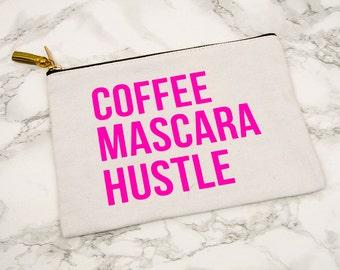 Coffee,Mascara,Hustle//Hot Pink//Make Up Bag//Cosmetics//School Supplies//Zipper Pouch//Tassel//Accessories