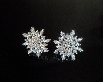 """Stud earrings """"Snowflakes"""" ,  Rhinestone Snowflake Stud Earrings For Women, Silver Snowflake Earrings. Snow Earrings. Winter Earrings."""