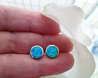 925 Silver Earrings - Blue Opal Earrings