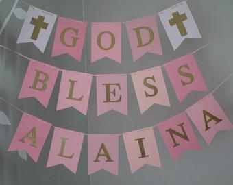 God Bless Banner, Baptism Banner, Pink Gold Baptism Banner, First Communion Banner, Christening Banner, Custom Name Baptism Sign, Pink Gold