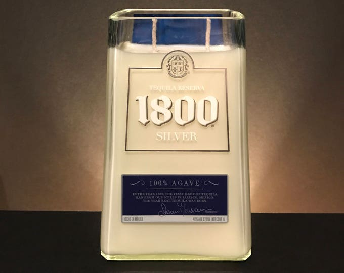 Recycled 1800 Tequila bottle candle