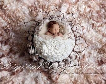 Digital Newborn Photography Prop Backdrop - Softest Wool Nest