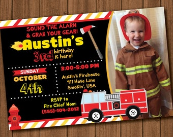 Fire Fighter Birthday Invite File with Photo