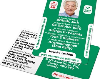 Medical Information Card: Custom ID badge for Diabetic, Dementia, Alzhiemers, tag, jewellery, bracelet, necklace