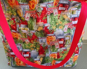 Canning Fresh Garden Fresh Vegetables and Fruits, Reusable Grocery / Shopping Bag / Tote