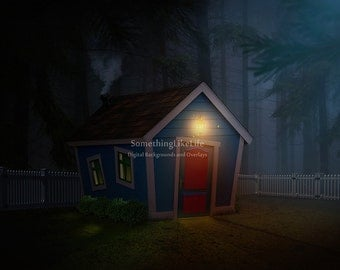 Tiny House Digital Background ~ Woods ~ Forest ~ Night