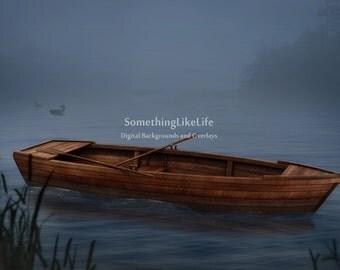 NEW Boat in water ~ Digital Background ~ Digital Backdrop