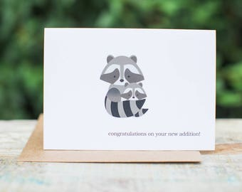 Woodland Baby Raccoon Card | Congratulations on Your New Addition!