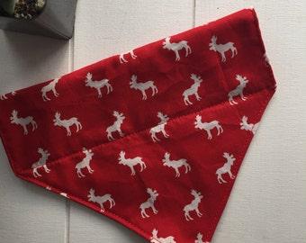 Moose collar slide through dog bandana, Canadian moose collar bandana red with white moose bandana Canada 150 dog bandana