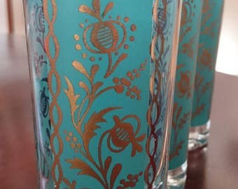 Aqua and Gold Vintage Highball Glasses/ Turquoise and Gold Vintage HIghball glasses/ Mid Century Modern Barware/ Hollywood Regency