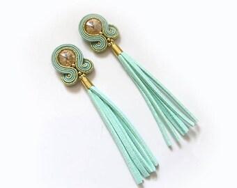 Boho sage green tassel clip on earrings Long mint gold earrings soutache earrings dangle & drop earrings large glam rock earrings