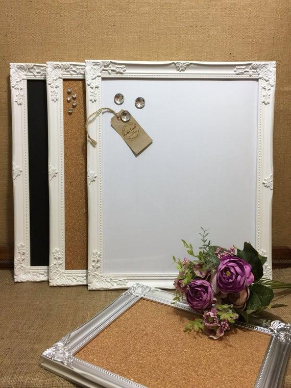 WHITE Ornate Framed Notice BOARD / White Frame Message Board / Framed Bulletin Board /Framed Vision Board / White Home Decor / Office Decor