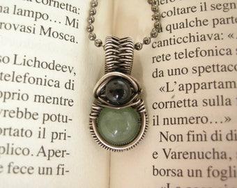 Silver pendant 925 sterling silver wire art aventurine tourmaline luck amulet talisman wicca pagan dark metal fantasy gift