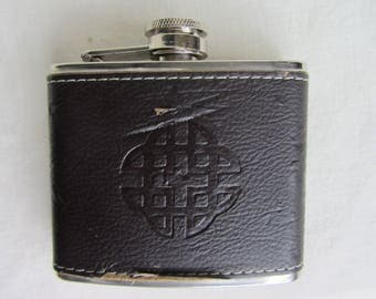 1970's stainless steel leather covered hip flask, 4 oz. pocket flask, spirit flask, gentleman's accessory,