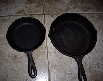 Two Cast Iron Fry Pans
