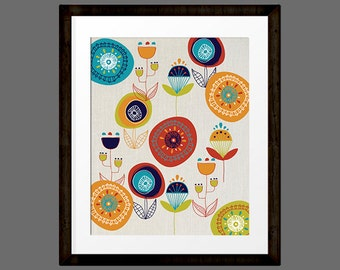 Mid Century Modern Art Flower Print 8x10 INSTANT DOWNLOAD