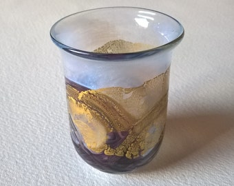 Miniature Isle of Wight Art Glass Vase With Gold Flecks & Opalescent Effect,c. 1978-1991