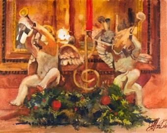 Christmas Angels, Christmas Painting, Christmas Mantle Painting, Cherubs Painting