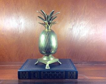 Vintage Brass Pineapple-Pineapple Statue-Brass Pineapple Candleholder