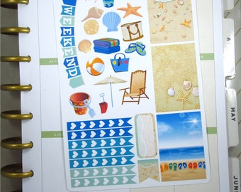 Beach sampler stickers - for Erin Condren Horizontal Planners - summer vacation beach ocean lake