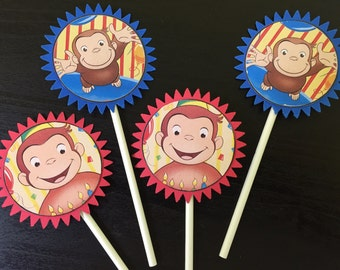 Curious George Cupcake Toppers (12), Curious Geoege Party, Curious George Birthday, Curious George Cake Toppers, Curious George