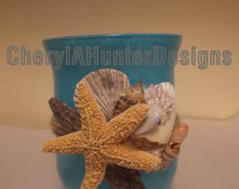 Glass teal Candle Holder with sea shells and sugar Starfish