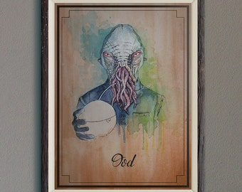 Ood of Doctor Who illustration limited edition watercolor copy