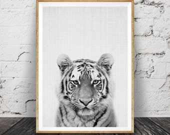 Tiger Print, Nursery Animal Wall Art, Safari Decor, African Photo, Kids, Printable Instant Digital Download, Black and White, Modern Poster