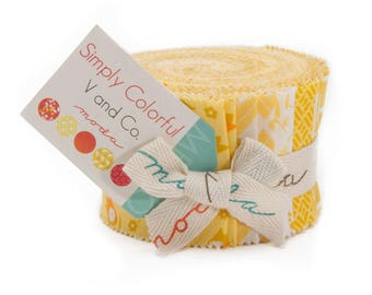 """Moda SIMPLY COLORFUL YELLOW Junior Jelly Roll 10840YJR 20 2.5"""" Quilt Fabric Strips"""