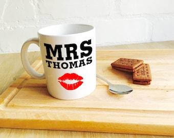 Valentine's Mug Personalised 'Mrs Lips.......i love you' Romantic Valentines Mug