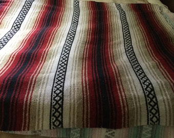 Vintage red Mexican blanket cotton blanket